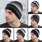 MENS KNITTED STRIPED THINSULATE FLEECE LINED BEANIE HAT …