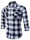 Mens Casual Slim Hit Long Sleeve Button Front Plaid Shirts