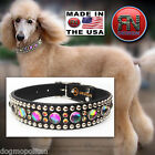 RN Design :: Glass Cab & Swarovski Crystal Dog Collar :: LEATHER :: USA HANDMADE