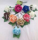 Wedding Rose and Rose leaf  diamante button holes various colours to choose from