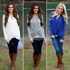Fashion LADY Casual Women's Sexy Cotton V-Neck Tops Long Sleeve Shirt  Blouse