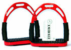 FLEXI SAFETY STIRRUPS HORSE RIDING BENDY IRONS STAINLESS STEEL RED COLOR