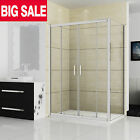 1400/1500/1700mm New Sliding ShowerEnclosure Walk In Glass Screen Door+StoneTray