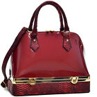 Dasein Patent Leather Dome Satchel Tote Shoulder Bag with Bottom Box Compartment