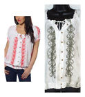 NEW WOMENS FEVER EMBROIDERED PEASANT SHIRT OLIVE & WHITE You Pick Size