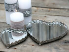 Heart Mirror Tray Vintage Antique Style Tea Light Candle Plate Wedding Christmas