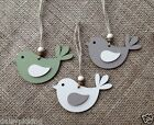 Shabby Chic Handmade Wooden Christmas Tree Decoration Gift Set of 3 - Bird/Robin
