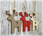 Shabby Chic Handmade Wooden Christmas Tree Decoration Gift Set of 3 - REINDEERS