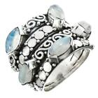 GORGEOUS MARQUISE RAINBOW MOON STONE 925 STERLING SILVER ring