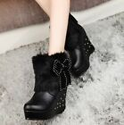 NEW Fashion Women Bow-Knot High Heeled Casual Solid Color  Martin Boot Snow Boot