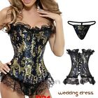 Women lace up boned overbust party dress fancy corsets and basque body shaper N8