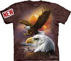 Eagle Clouds T-Shirt The Mountain NEW Brown Graphic Tee Soaring Bald Eagle