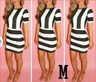 New Womens Ladies Sexy Celeb Bodycon Pencil Party Dress monochrome stripe dress