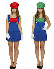 Ladies Super Mario & Luigi Costume Fancy Dress UK Sizes 6/8/10/12/14/16/18/20