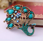 Elegant peacock shiny crystal Brooch Pin Christmas Gift Wedding Lady