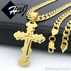 """18-40""""MEN Stainless Steel 6mm Gold Cuban Curb Chain Necklace Cross Pendant*P76"""