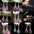 New jewelry 18k Gold Filled hollow cubic zirconia lady's dangle earrings