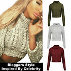 Womens Polo Turtle Neck Knit Crop Jumper Ladies Winter Cable Cardigan Top