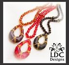 Gold Wire Wrap Beaded Pendant Necklace Earring Set - 3 Color Choices