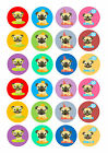 24 Cake topper decorations icing wafer Cute colourful pugs