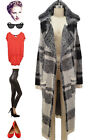 Vintage Style BOHO Indie PLAID HOODED KNIT Open Front Kimono DUSTER Cardigan