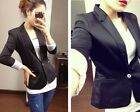 Fashion Womens Black Long Sleeve Casual One Button Blazer Lady Jacket Coat Suit