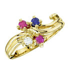 10K or 14K Solid Gold Ring 1 to 5 Mother's Birthstones Cu...