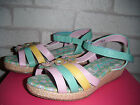 Girls Green/Pink & Yellow Velcro Fastening Wedge Sandals.  Sizes 10 & 13