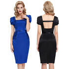 WOMEN LADIES VINTAGE 50'S PIN UP OFFICE WIGGLE PENCIL DRESS SIZE 4-18