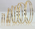 14k Gold Plated Large, Medium, Small Hoop Earrings with Swarovski Crystal