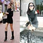 Women Long Sleeve Turtleneck Bodycon Casual OL Knitted Jumper Mini Top Dress itS