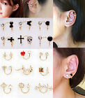 2X Magik Rhinestone EarStud Crystal Ear Cuff Wrap Clip On Non-piercing Earrings