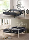 Classic Seline 4ft6 Double 5ft King Size Style Ivory Black Metal Bed & Mattress