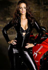 Woman Sexy Black Catsuit Gothic Vinyl Leather Wet Look Clubwear with Zipper