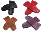 Ladies Womens Premium Quality Genuine Soft Leather Gloves Fur Lined Warm Winter