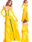 Ladies Belle Costume Princess Fancy Dress Gown Cosplay UK Sizes 8/10/12/14/16