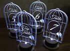 Table numbers, acrylic, light up, Bird cage design