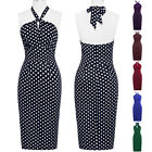 NEW VINTAGE 50'S 60'S RETRO OFFICE BODYCORN HALTER PIN UP DRESS S-XL
