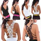 Womens Sexy Crochet Lace Open Back Deep V Neck Night Club Vest Top Shirt