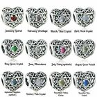 BIRTHSTONE HEART CHARM 925 Solid Sterling Silver Openwork Charm Bead