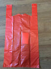 "Red Plastic Vest Carrier Bags MEGA RED Supermarket Style 12""x 18""x 24"