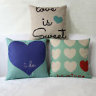 Romantic Love Heart Cotton Linen Pillow Bed Case Sofa Throw Waist Cushion Cover