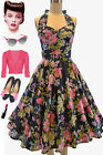50s Inspired NAVYBLUE Floral Print BELTED Pinup HALTER Sun Dress with FULL SKIRT
