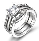 Two-Tone Stainless Steel 3PC Wedding Engagement Band Women's Ring Set Jewelry
