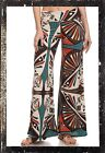FOLD OVER WAIST WIDE LEG AZTEC GEOMETRIC BROWN TEAL YOGA PALAZZO PANTS S M L