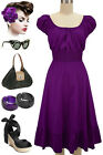 50s Style SOLID PURPLE Rockabilly PINUP Bombshell Peasant On/OffT/Shoulder Dress