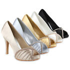 Glamour Damen Pumps High Heels 96963 Satin Strass Abendschuhe 36-41 Modatipp