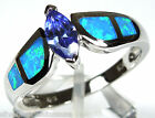 Marquise Tanzanite & Blue Fire Opal Inlay 925 Solid Sterling Silver Ring Sz 8