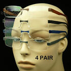 4 PAIR LOT READING GLASSES CLEAR LENS MEN WOMEN STRENGTH RIMLESS POWER PACK