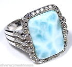 Rare AAA Genuine Dominican Larimar 925 Sterling Silver Cocktail Ring size 7